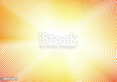 Undulating lines of orange, yellow, red gradient. Shiny waves. Abstract sunny background with copy space. Line art pattern with flash effect. Design concept of infinity. Vector colored waving frame. EPS10 illustration