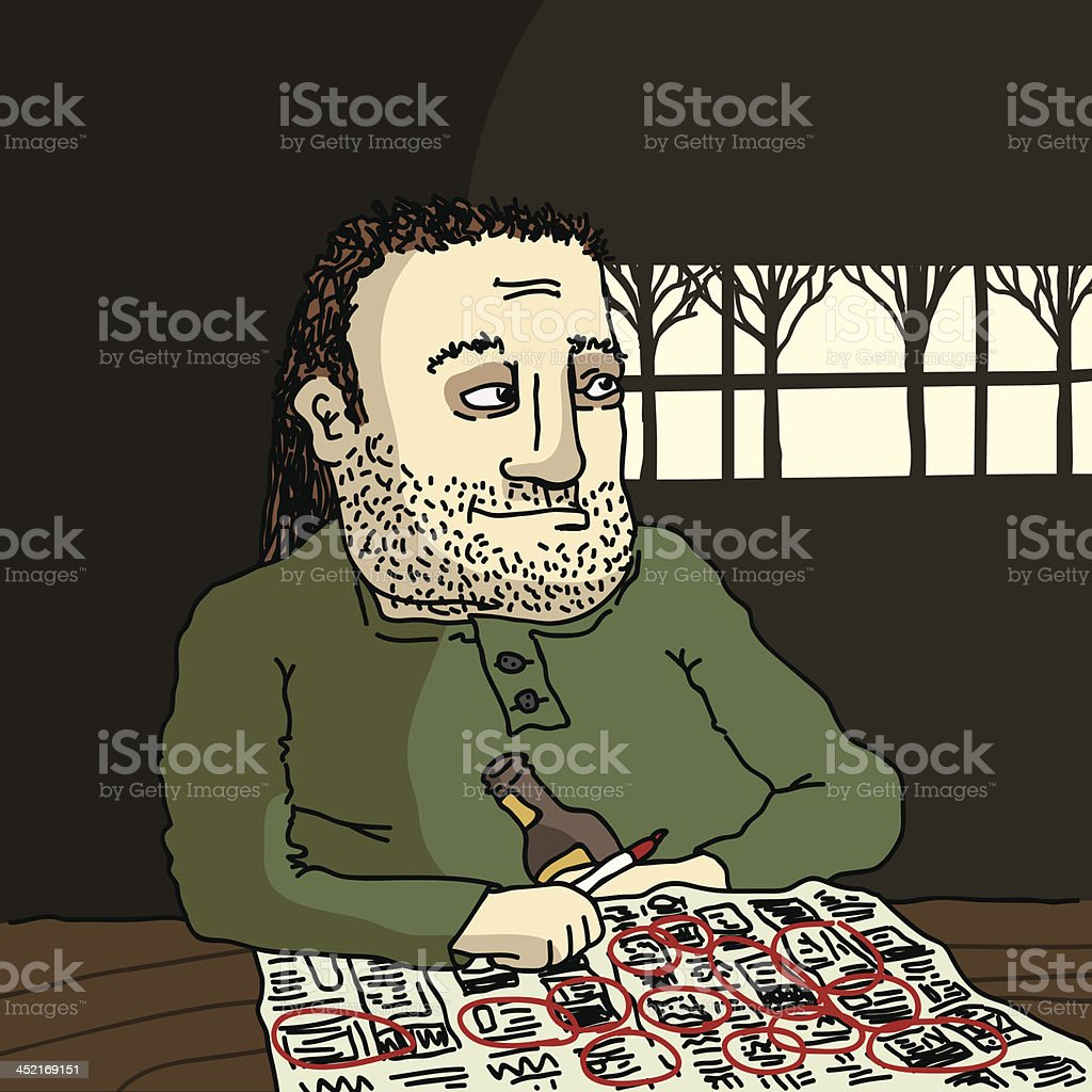 Unemployed Guy vector art illustration