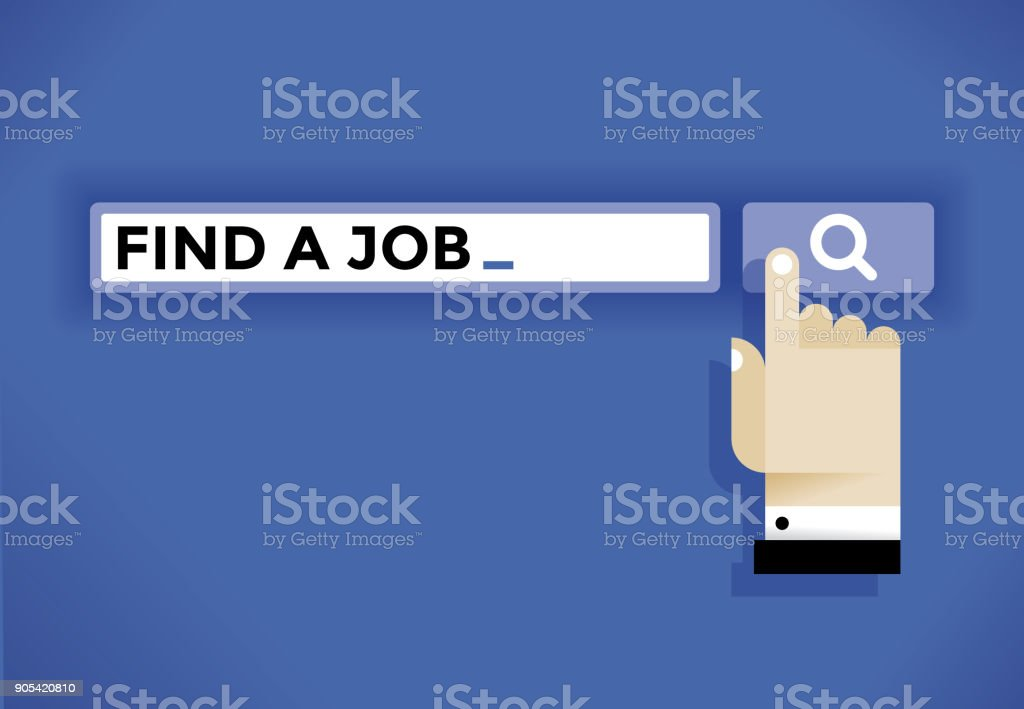 Unemployed user hand cursor icon finding a job in internet. Idea - Employment, professional occupation and work searching etc. vector art illustration
