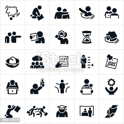 An icon set of unemployment related concepts. The concepts include people out of work, person drowning, person being fired, person looking for a job, lack of skills, no jobs, despair, sadness, changing directions and other related themes.