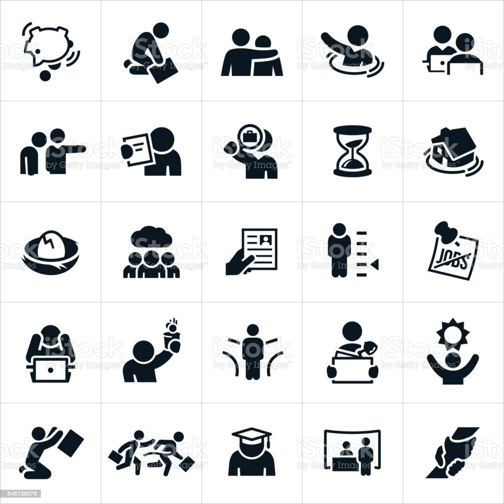 Unemployment Icons vector art illustration