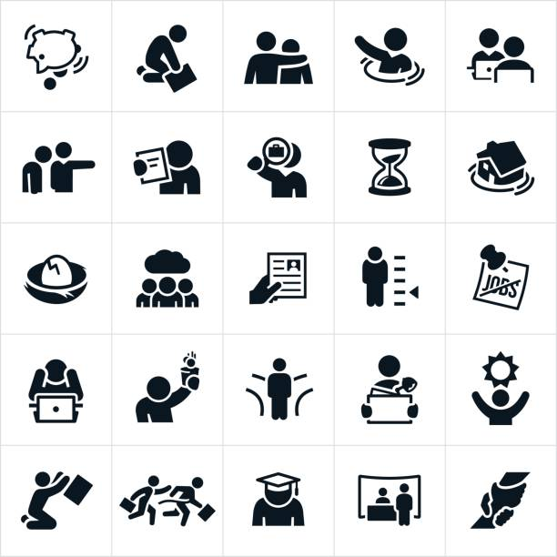 unemployment icons - unemployment stock illustrations