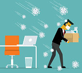 Unemployment, jobless from COVID-19 Coronavirus outbreak, company closed and business shut down and worker being fired, sad businessman carrying thing after being fired, virus pathogens fall on him. stock illustration