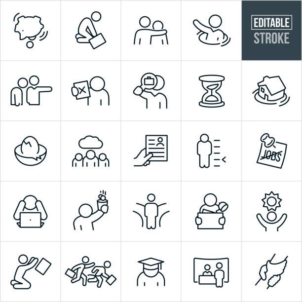 unemployment thin line icons - editable stroke - unemployment stock illustrations