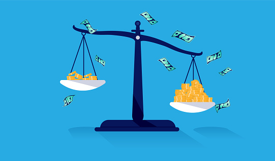 Unequal pay concept with weight scale with money