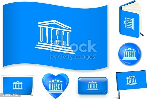 UNESCO national flag. Vector illustration. 3 layers. Shadows, flat flag, lights and shadows. Collection of 220 world flags. Accurate colors. Easy changes.