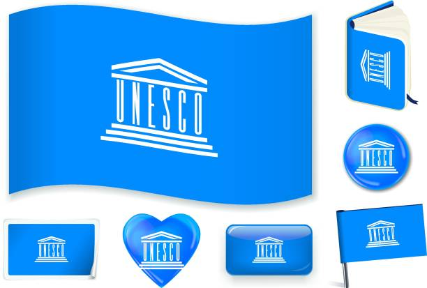 illustrazioni stock, clip art, cartoni animati e icone di tendenza di unesco_flag - unesco