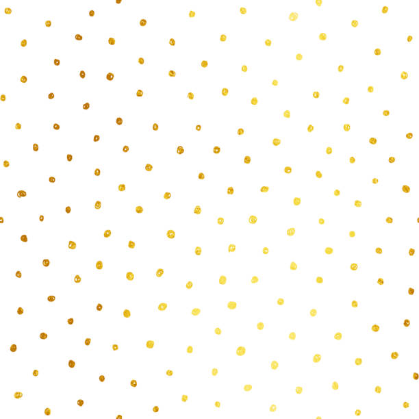 Uneven messy hand drawn gold colored Polka dots isolated on white background - abstract textured pattern - doodles on paper background in vector Abstract white paper background full of golden dots! Zoom to see the details. All in shades of yellow and brown.  Seamless texture background - duplicate it vertically and horizontally to get unlimited area. Vector file - enlarge without losing quality. polka dot stock illustrations