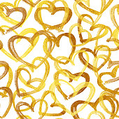 A collection of golden hearts. Beautiful stylish and modern design of hearts in the middle of a white piece of paper.   Hand-made realistic illustration in vector. Zoom to see the details. Original stylish design associated with opulence, wealth and luxury. Artwork full of depth, glamor and glow. Isolated design object.