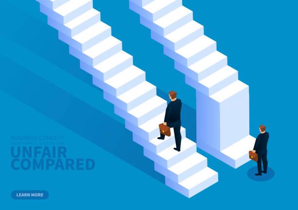 unfair - treppe stock-grafiken, -clipart, -cartoons und -symbole