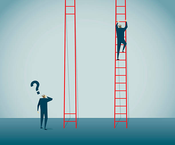 stockillustraties, clipart, cartoons en iconen met unfair - ladder