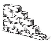 Hand-drawn vector drawing of an Unfinished Brick Wall. Black-and-White sketch on a transparent background (.eps-file). Included files are EPS (v10) and Hi-Res JPG.