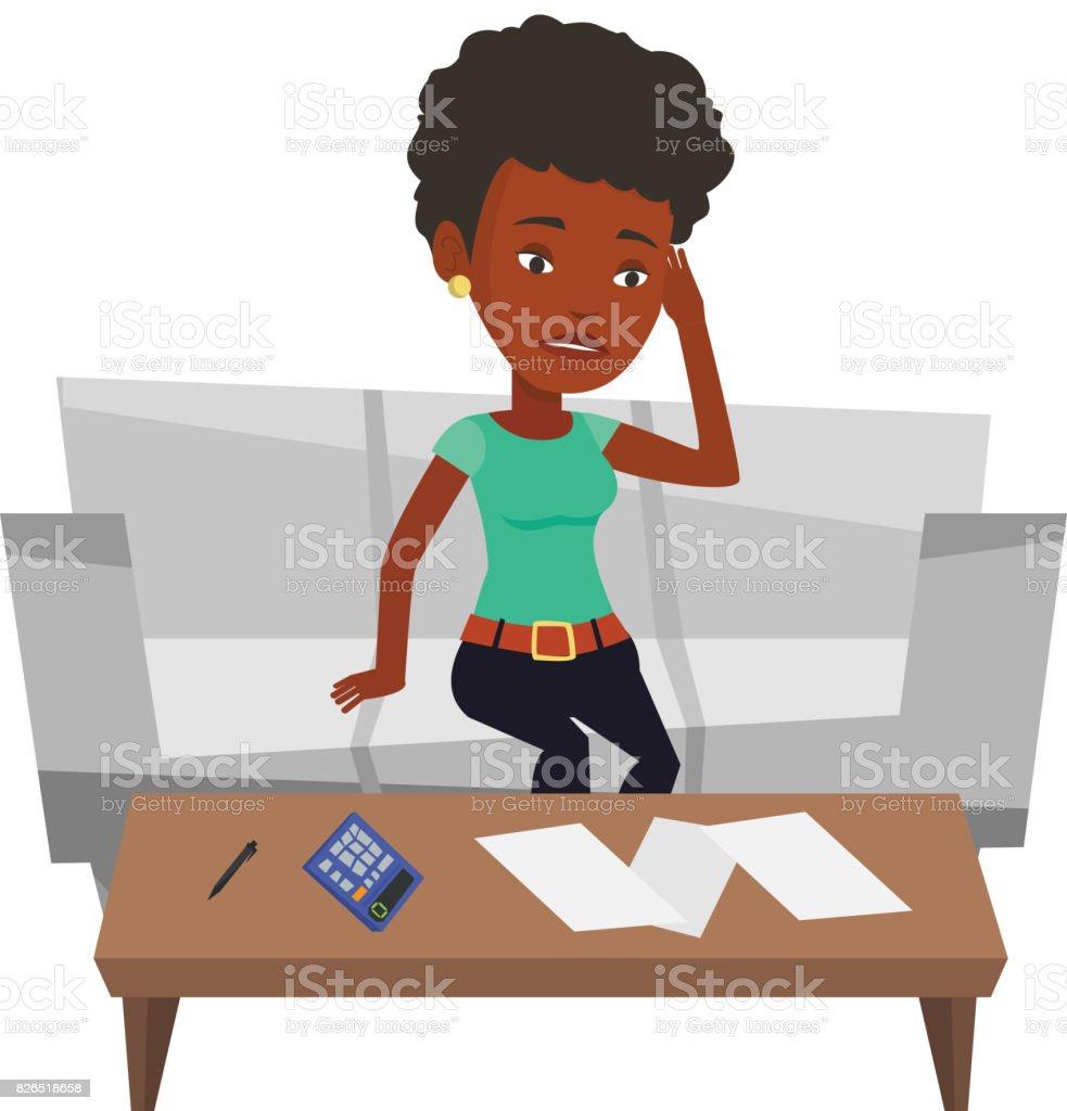Unglücklich Afrikanerin Buchhaltung Nach Hause Rechnungen Stock