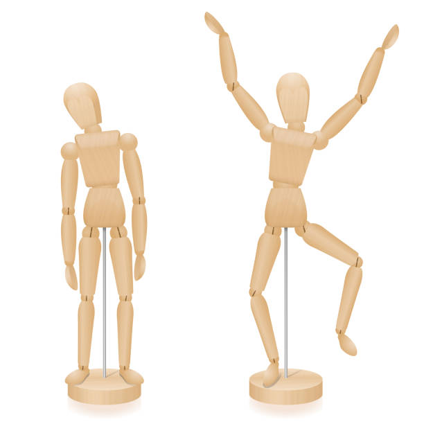 unhappy and happy, sad and joyful wooden lay figures body language in comparison - two mannequins with typical body posture - three-dimensional isolated vector illustration on white background. - marionetka stock illustrations