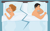 Unhappy angry couple having quarrel conflict in bed. Young people relationship or sexual difficulties.