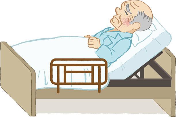 unhappy bedridden senior men white background - old man clipart stock illustrations, clip art, cartoons, & icons
