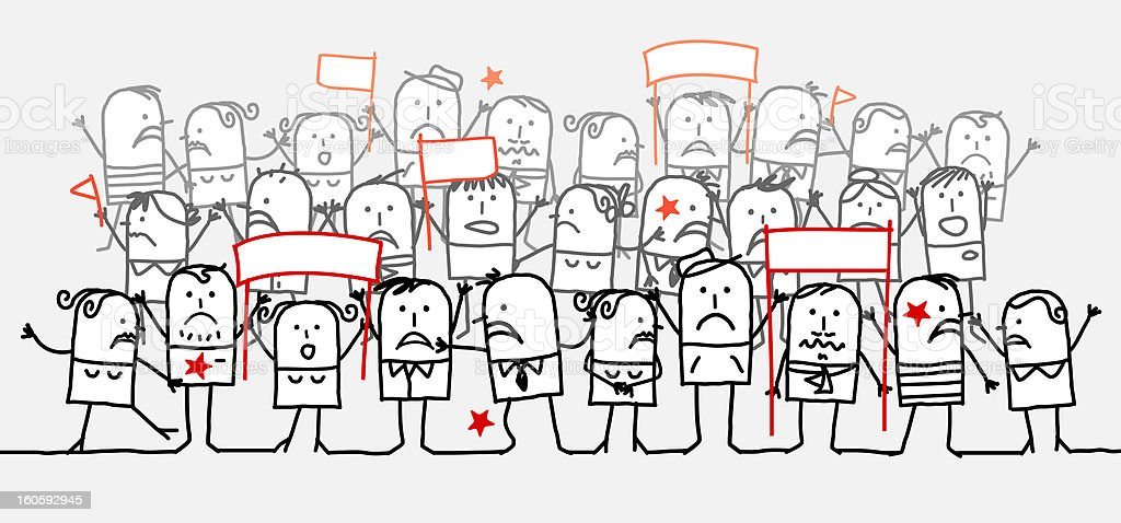 unhappy crowd royalty-free stock vector art