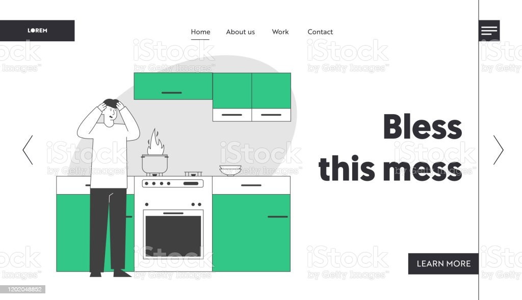 Unhappy Culinary Experience Website Landing Page. Frightened Man Stand at Oven with Burning Fire in Pan. Weekend Chores Housekeeping Process Web Page Banner. Cartoon Flat Vector Illustration, Line Art - Royalty-free Adulto arte vetorial