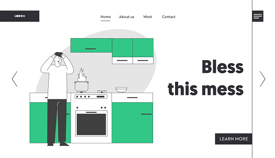 Unhappy Culinary Experience Website Landing Page Frightened Man Stand At Oven With Burning Fire In Pan Weekend Chores Housekeeping Process Web Page Banner Cartoon Flat Vector Illustration Line Art - Arte vetorial de stock e mais imagens de Adulto