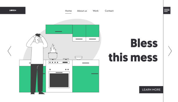 ilustrações de stock, clip art, desenhos animados e ícones de unhappy culinary experience website landing page. frightened man stand at oven with burning fire in pan. weekend chores housekeeping process web page banner. cartoon flat vector illustration, line art - burned oven