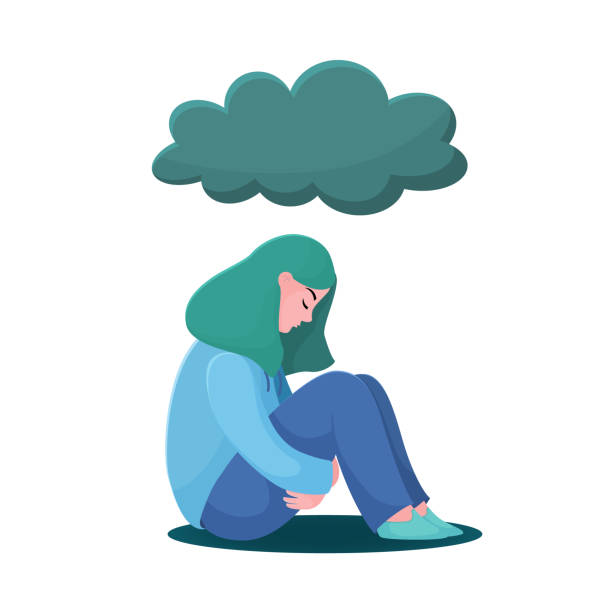 ilustrações de stock, clip art, desenhos animados e ícones de unhappy girl, woman sitting under raining cloud - unfortunate