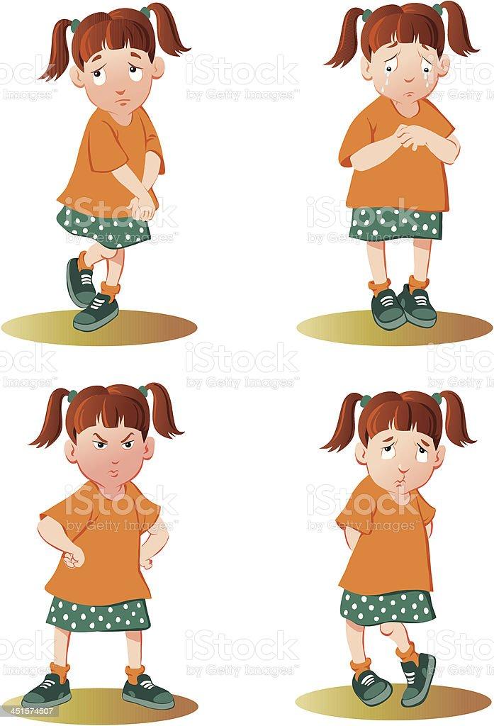 Unhappy Little Girl vector art illustration