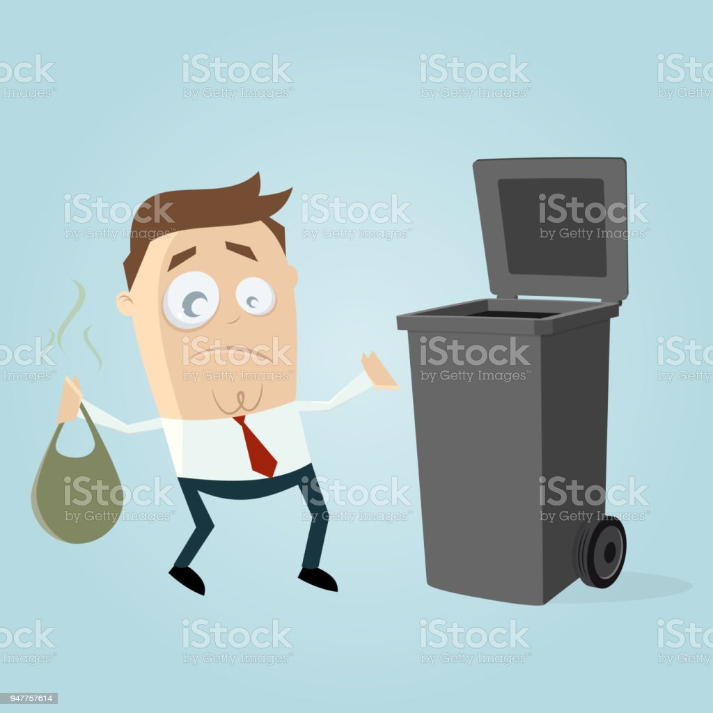 unhappy man taking out the rubbish vector art illustration