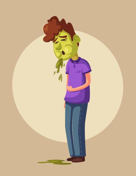 Unhappy person vomiting from food poisoning. Cartoon vector illustration vector art illustration