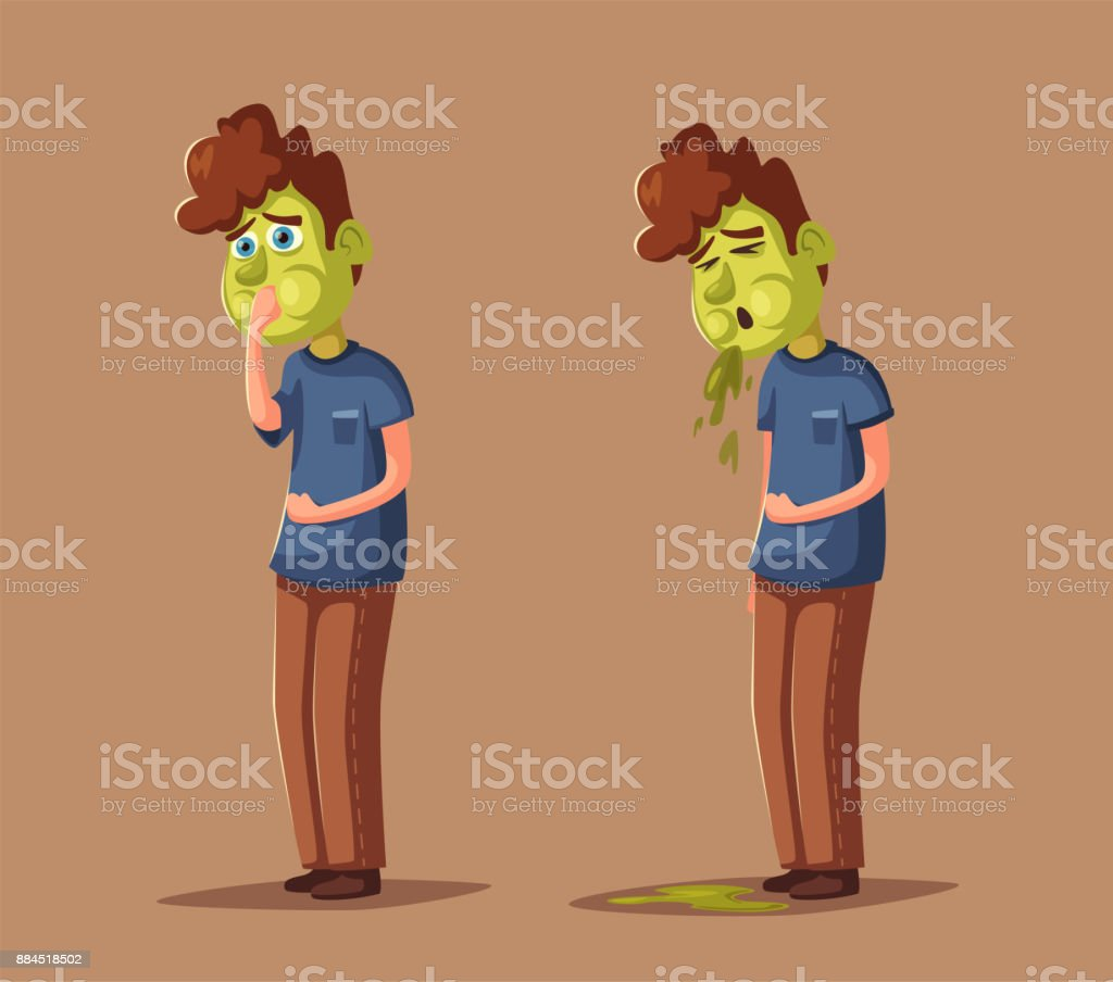 Unhappy person vomiting from food poisoning. Cartoon vector illustration vector art illustration
