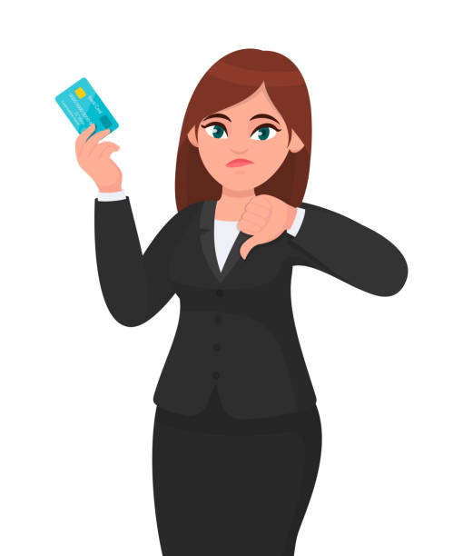 unhappy, professional business woman showing/holding credit/debit/atm banking card and gesturing/making thumbs down sign. bad, dislike, disagree, negative concept illustration in cartoon. - credit card stock illustrations