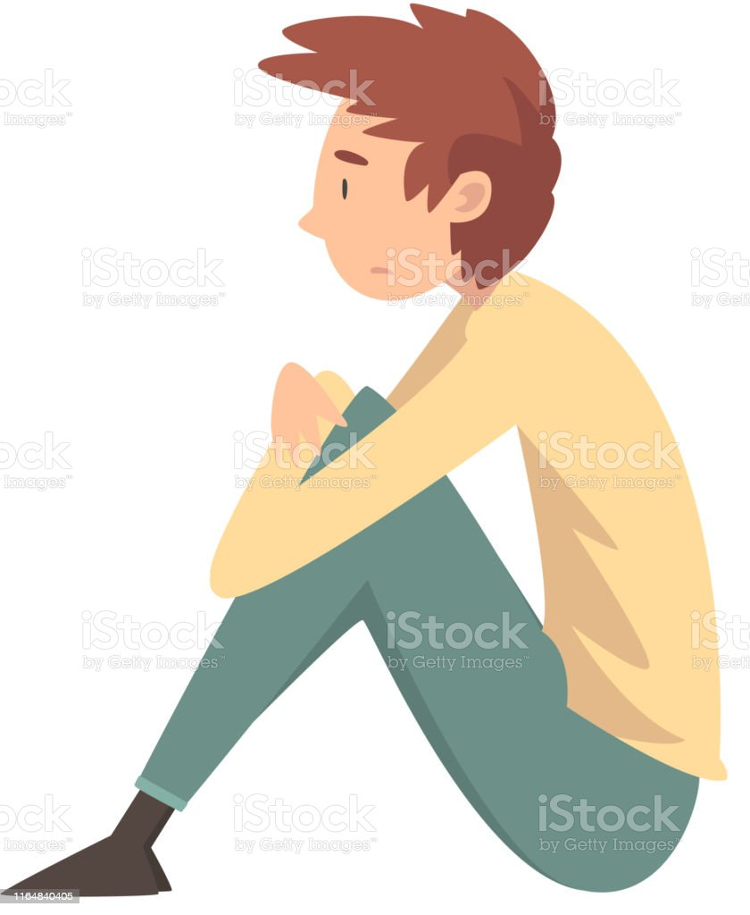Garçon Triste Malheureux Sasseyant Sur Létage Adolescent