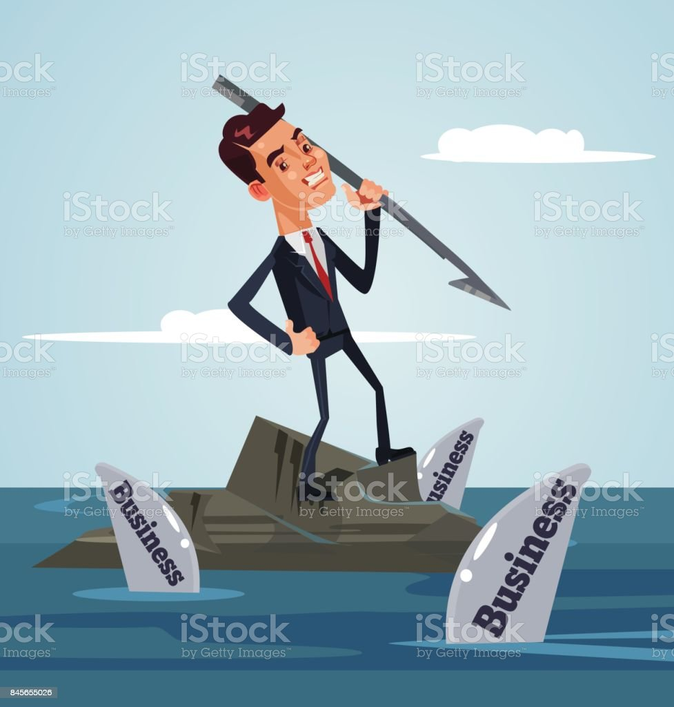Unhappy sad office worker businessman character surrounded by business sharks hold harpoon and attack vector art illustration