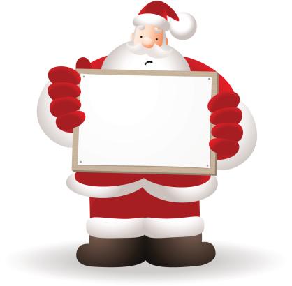Unhappy Santa Claus Holding A Billboard
