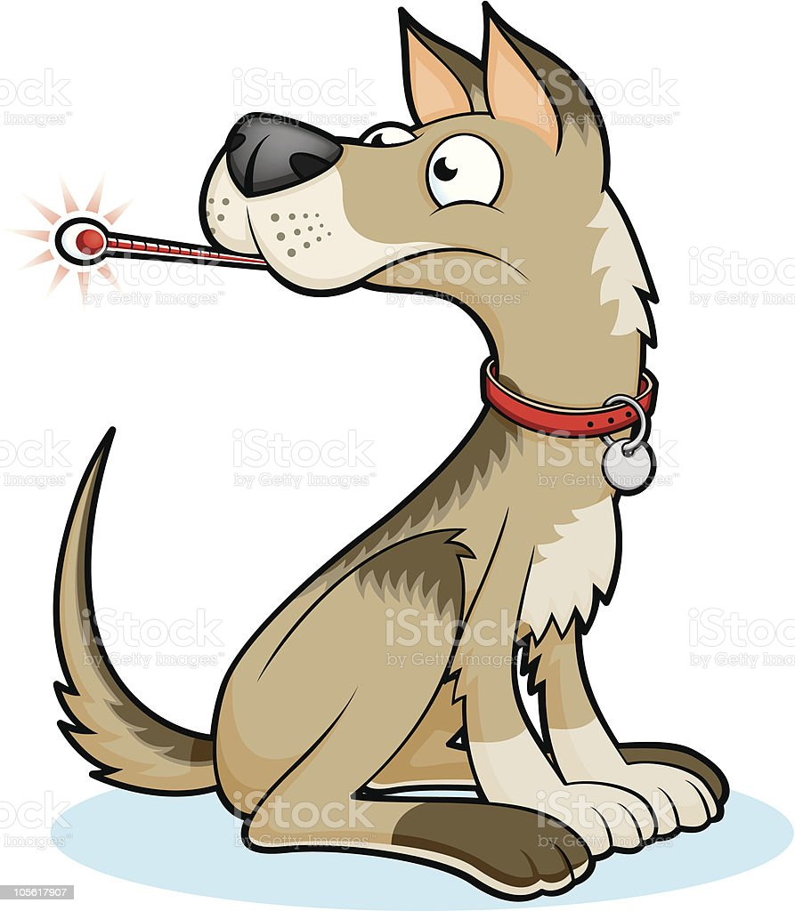 Unhappy Sitting Dog with Thermometer royalty-free unhappy sitting dog with thermometer stock vector art & more images of animal body part