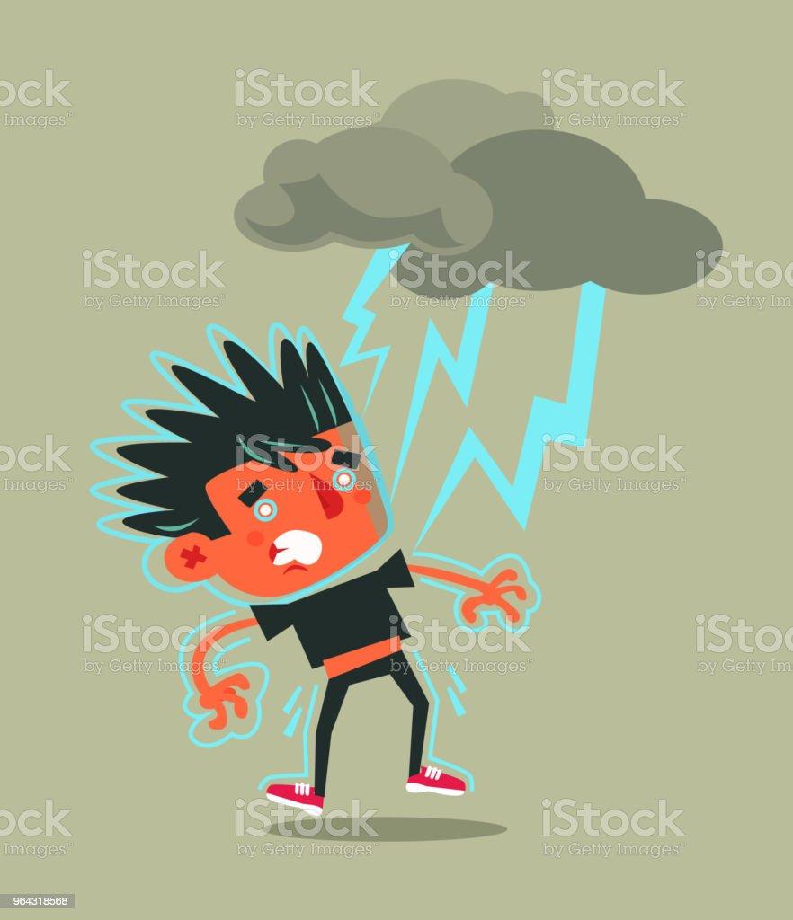 落雷によって打つ不幸な失敗した男の文字悪天候嵐事故フラット漫画