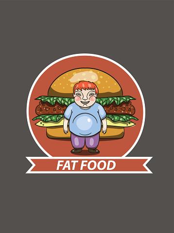 unhealthy eating concept, fat boy