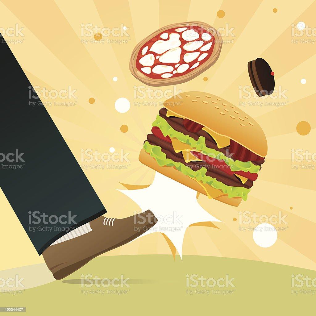 Unhealthy eating kick vector art illustration
