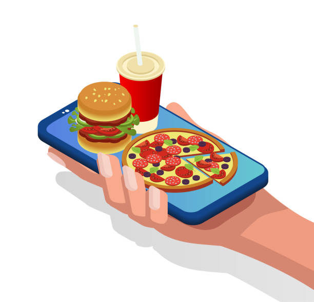 Unhealthy food. Burger, pizza and cola on a smartphone. Order and delivery of food online. A quick dinner. Isometric 3d Unhealthy food. Burger, pizza and cola on a smartphone. Order and delivery of food online. A quick dinner. Isometric 3d female sandwich stock illustrations