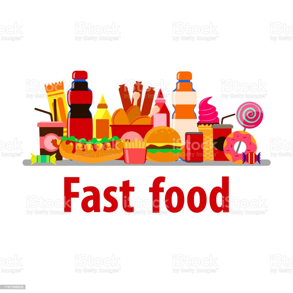 unhealthy food. delicious vector fast food on white background. set...