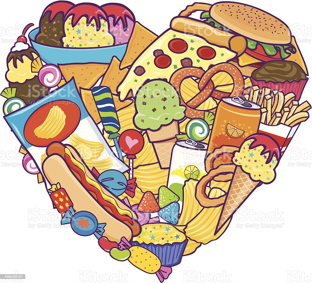 Unhealthy Food Heart royalty-free stock vector art