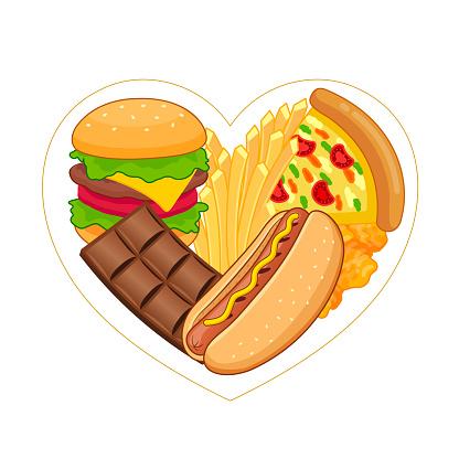 Unhealthy junk food in heart shape.