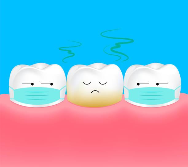 bildbanksillustrationer, clip art samt tecknat material och ikoner med ohälsosam tand. tand är dålig andedräkt eller dålig andedräkt. - tandsten