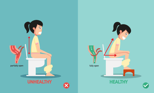 unhealthy vs healthy positions for defecate vector art illustration