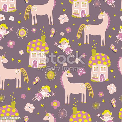 Unicorn and fairy magical forest seamless vector pattern. Hand drawn faries, flower, toadstool house, unicorn repeating background. Fairytale backdrop kids decor, fabric, wallpaper, wrapping paper