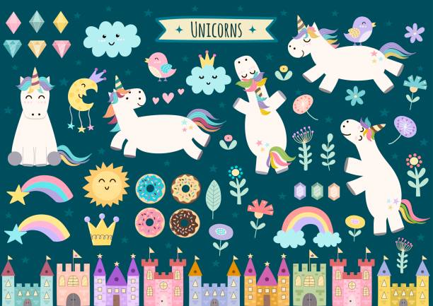 unicorn and fairytale isolated elements for your design - unicorns stock illustrations