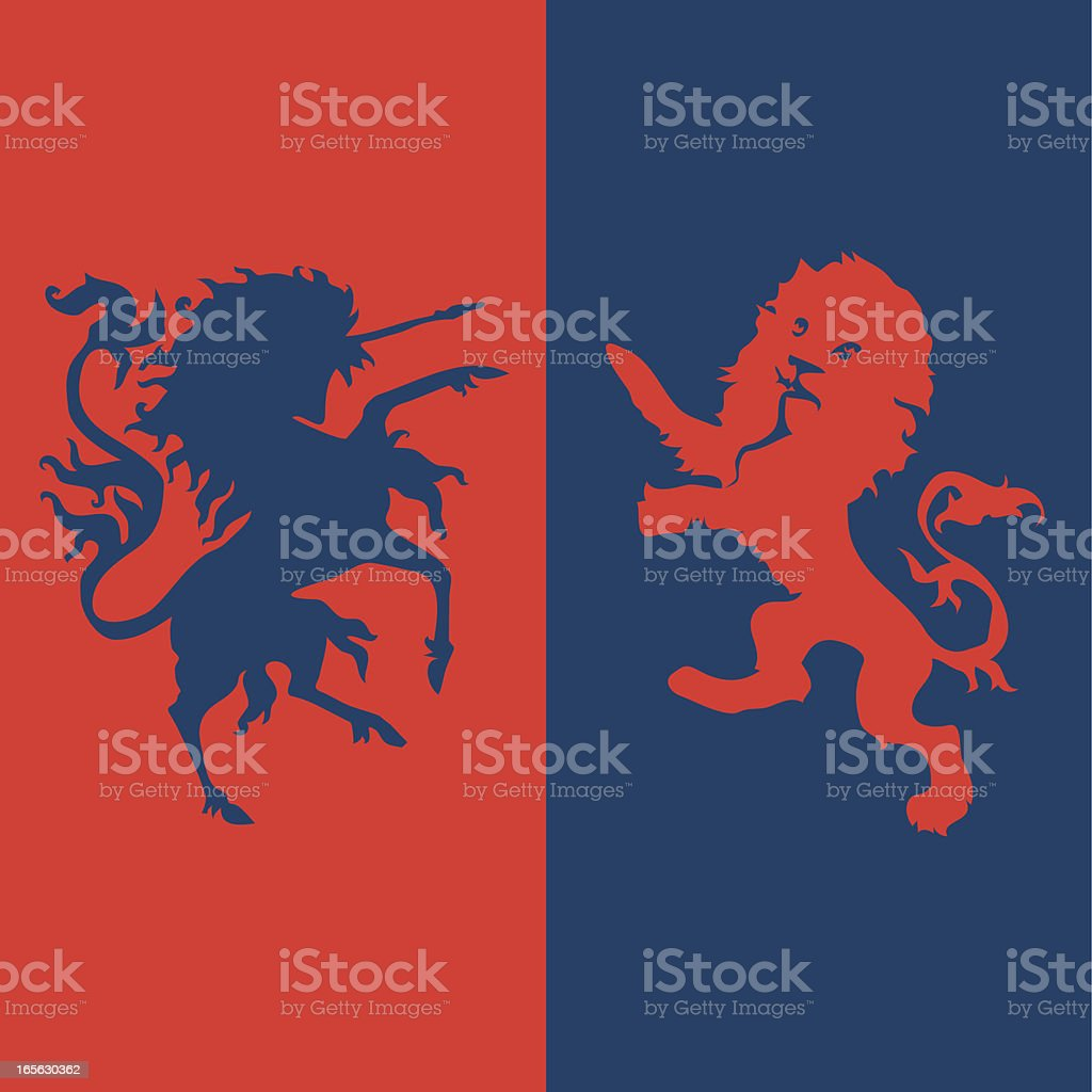 unicorn and lion royalty-free stock vector art