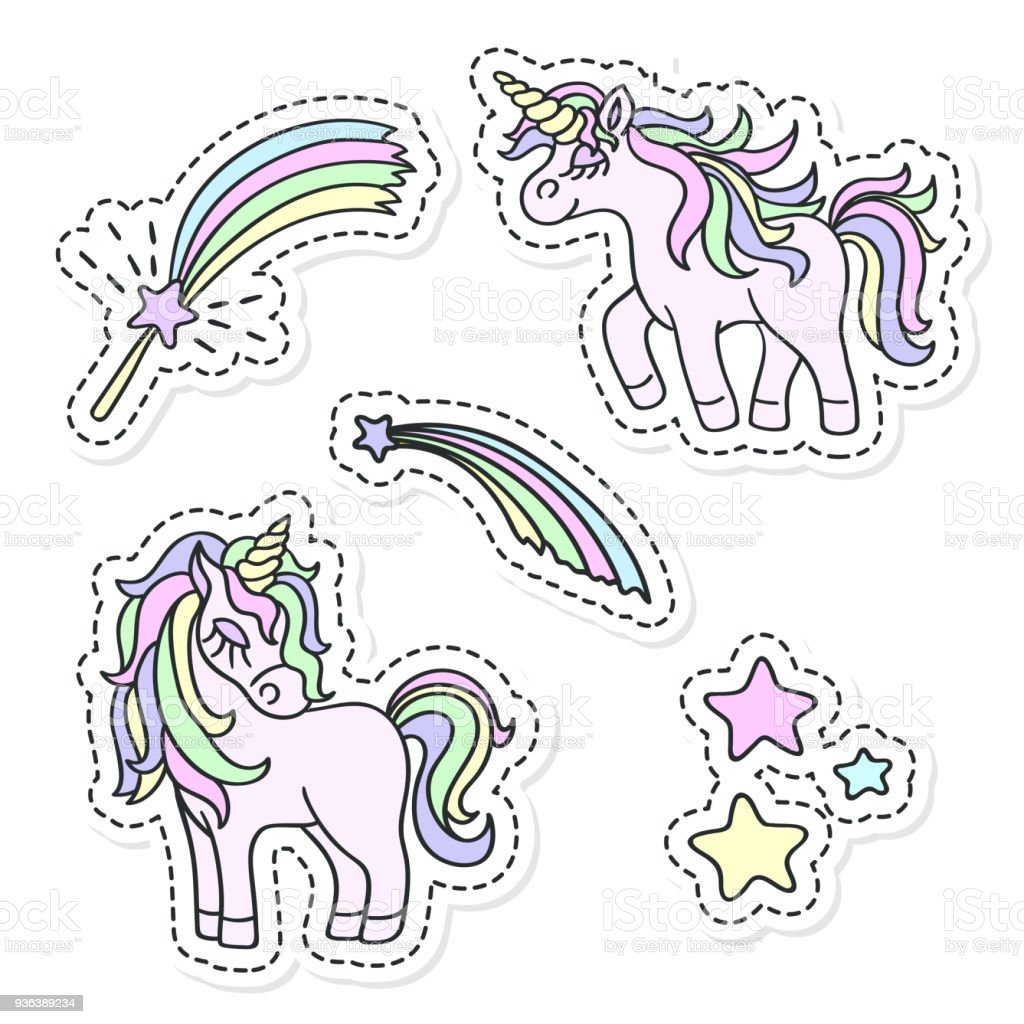 Unicorn And Magic Wand Vector Sticker Set Stock Vector Art & More ...