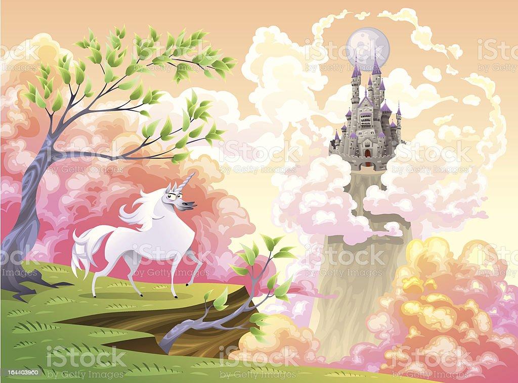 Unicorn and mythological landscape. royalty-free unicorn and mythological landscape stock vector art & more images of animal