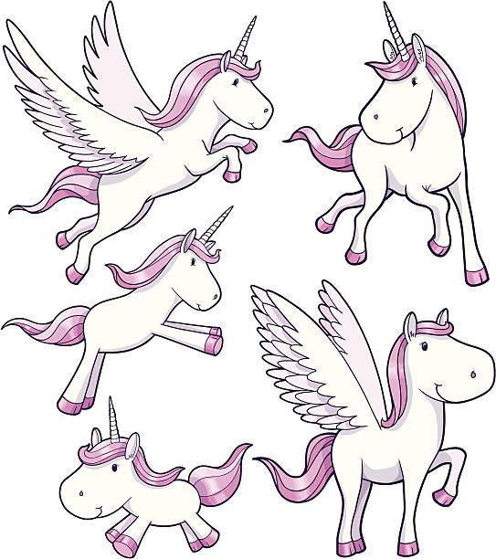Unicorn and Pegasus Set vector art illustration