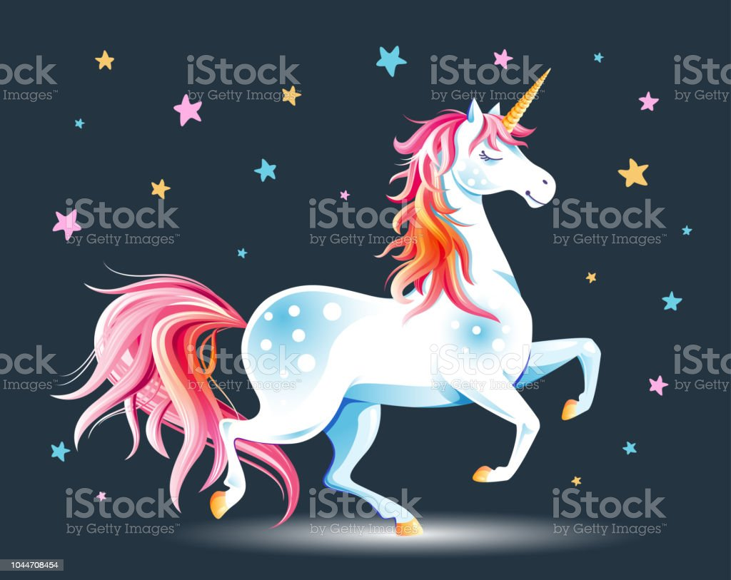 Unicorn and stars Cute poster with Unicorn and stars. Cartoon character. Vector illustration. Design element for childish accessories. Greeting card or apparel print, decorative emblem, label, book cover, icon, mascot Abstract stock vector